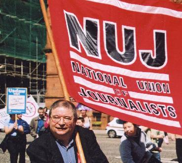 Martin O'Hagan attending the trade union event to mark May Day 2001. Photo © 2001 Kevin Cooper